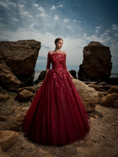 off Shoulder Lace Long Sleeve Ball Gown Evening Prom Quinceanera Dress 3167