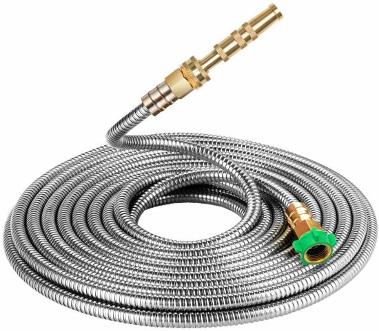 Strong 304 Stainless Steel Metal Garden Hose with Nozzle, Flexible, Portable and Lightweight