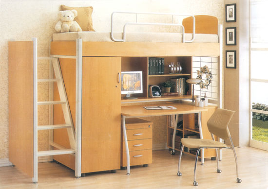 High School and College Steel Wood Dormitory Bed with Study Desk and Wardrobe