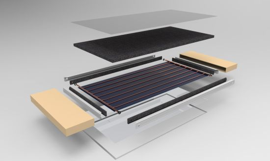 2m2 High Efficiency Flat Plate Solar Collector Eco Type with 80mm Thickness, Blue Titanium