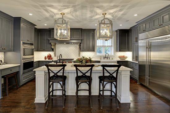 Dark Grey Solid Cherry Wood Kitchen, Cherry And White Kitchen Cabinets