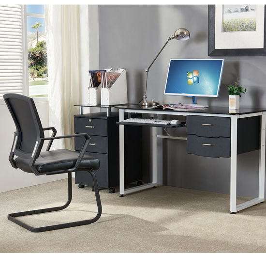 Office study desk Storage Home Office Furniture Glass Computer Desk For Office Study With Keyboard And Drawer Foshan Hollin Furniture Co Ltd China Home Office Furniture Glass Computer Desk For Office Study