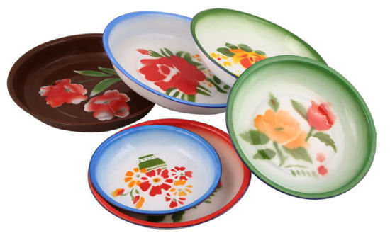 Portable Good Quality Beautiful Flower Decal Enamel Plate/ Rice Plate 14-26cm