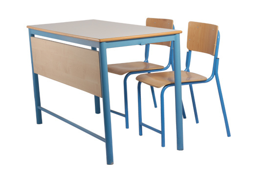 Modern School Furniture Student Double Desk and Chair Set (GM006 & GM007)