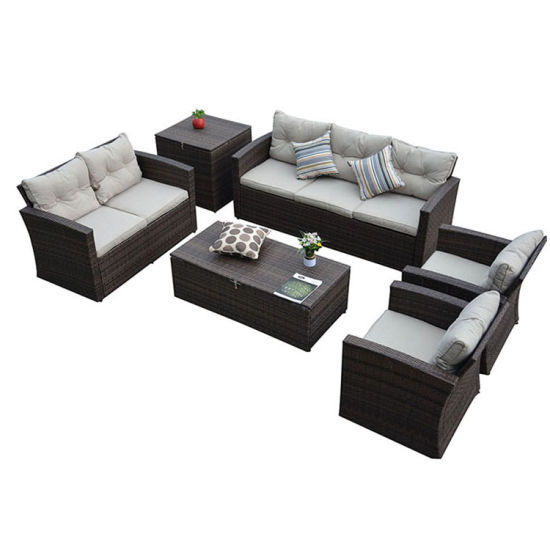 Hot Sale Top Quality Rattan Sofa Set Functional Cushion Box All Weather Outdoor Garden Wicker Furniture