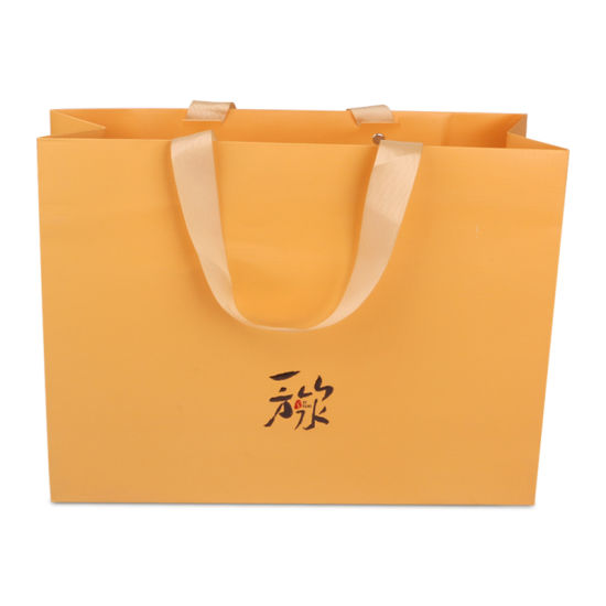 Custom Gold Color Printed Paper Bag, Luxury Ribbon Handle Textured Paper Shopping Bags