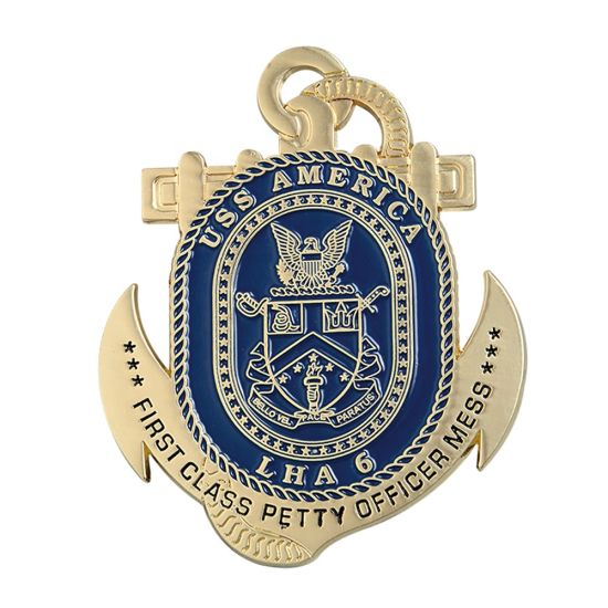 Custom Made Nautical Cut out Gold Anchor Medals with Rope Ribbon