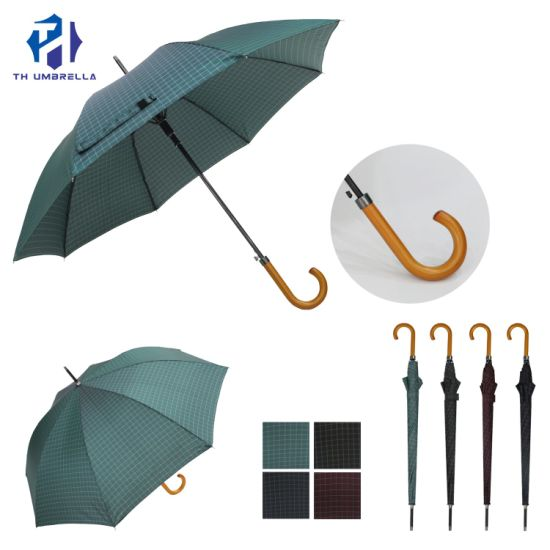 Promotion Gift Straight Auto Open Handle Grid Outdoor Umbrella