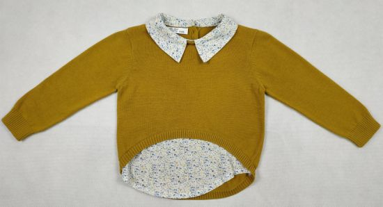 Infant Baby Girl's Yellow Round Neck Long Sleeves Sweater