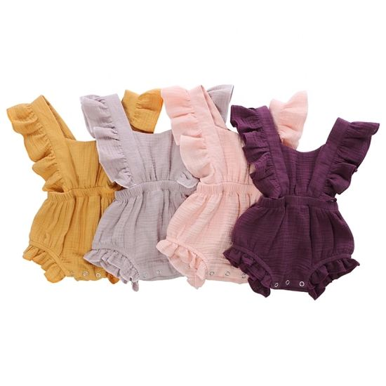 Baby 100% Cotton Double Solid Baby Rompers for Girl