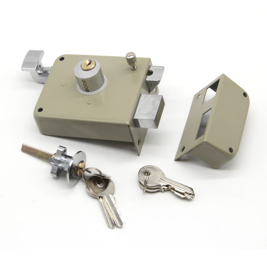 Home Door Safe Lock Hardware Security Night Latch Anti-Thief Door Rim Lock  (W-20)