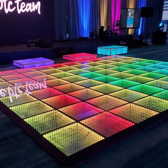 Wireless Magnetic Infinity 3D Tunnel Mirror LED Dance Floor for Rental