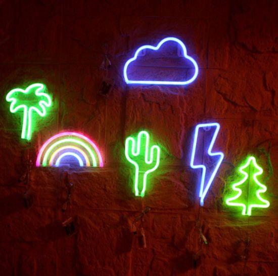 Xmas Led Neon Lamp Background Night