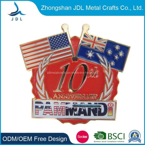 Dubai Flag Lapel Pin Badge Solid Silver 925