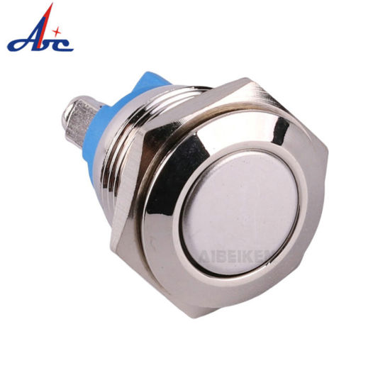 16mm Screw Terminals Flat Head Metal Momentary Push Button Switch