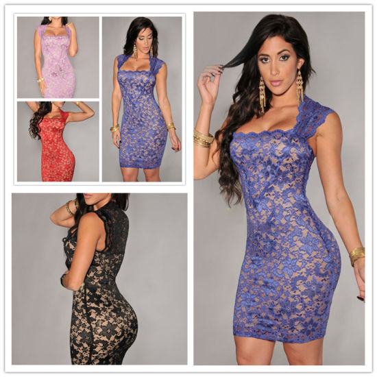 Slim Fitting Floral Lace Bodycon Party Dress (50138)