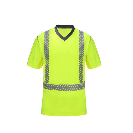 Safety T-Shirt Fluorescent Customized PPE Work Wear Breathable
