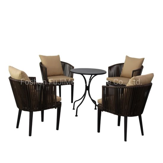 Outdoor PE Rattan Chair Furniture Nordic Rattan Furniture with Aluminum Frame Outdoor Table Chair Set Courtyard Balcony Garden Rattan Chair