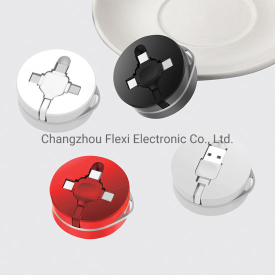 3 in 1 Multi-Head Round Box Retractable USB Fast Charger Cable for Promotional Gift Charger