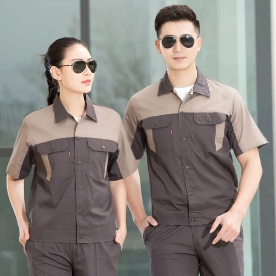 Custom Logo Design Men Wear Coverall Clothes Two Tone Color Work Uniform