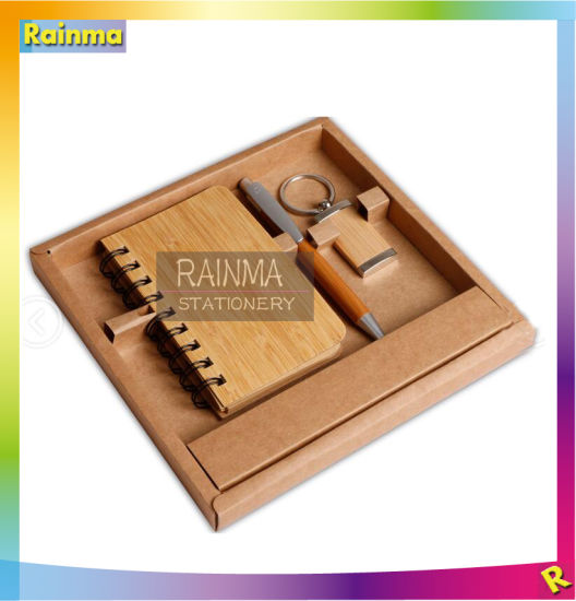 Bamboo Stationery Set with Notebook and Key Chain for Office Supply and Promotional Gift