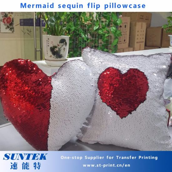 China Sublimation Square Heart Shaped Mermaid Sequin Flip Pillowcase