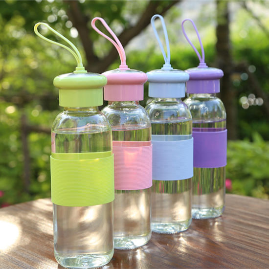 Wholesale Silicone Strap Glass Transparent Glass Cup Custom Water Bottle