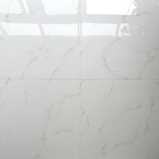 White Colour Glossy Marble Look Glazed Italian Porcelain Polished Tile