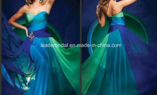 Strapless Chiffon Party Prom Gowns Multi Colors Bridesmaid Evening Dress E13428
