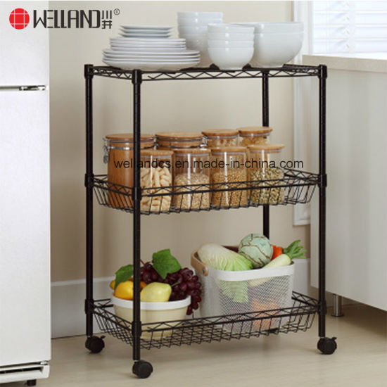 Black Coated 3 Shelf Kitchen Trolley Cart Vegetable Fruit Basket Storage  Rack