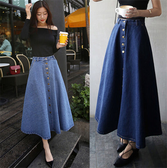 574418bb29d Wholesale Latest Dress Design Girls Women High Waist Denim Maxi Long Skirts  pictures   photos