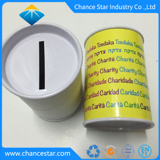 China Custom Printed Paper Cardboard Coin Tube with Metal Lid