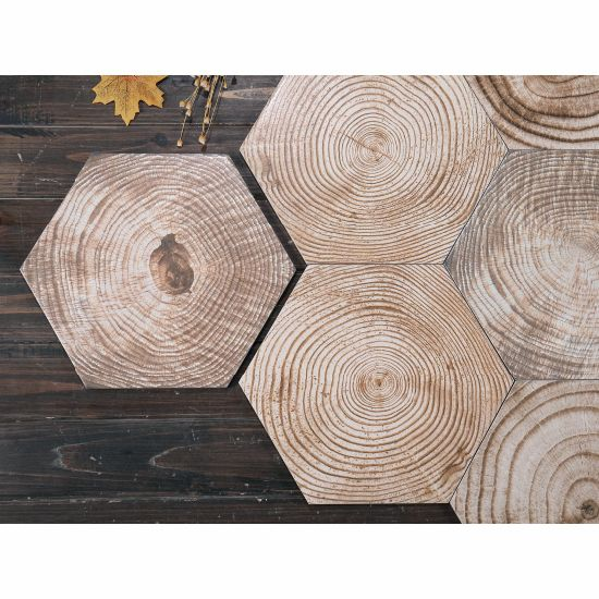 Wooden Glazed Ceramic Hexagon Floor Tiles