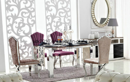 Dining Room Furniture Rectangle Stainless Steel Base Luxury Dining Table Set