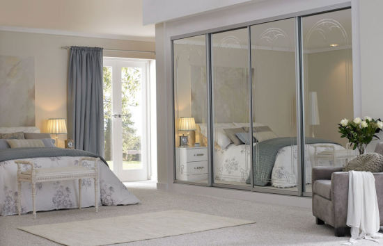 Mirrored Glass Bedroom Wall Wardrobe Design Cheap Wardrobe China