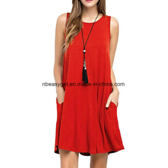 Women′s Sleeveless Pockets Casual Swing T-Shirt Dresses Esg10562 pictures    photos 188b0727b