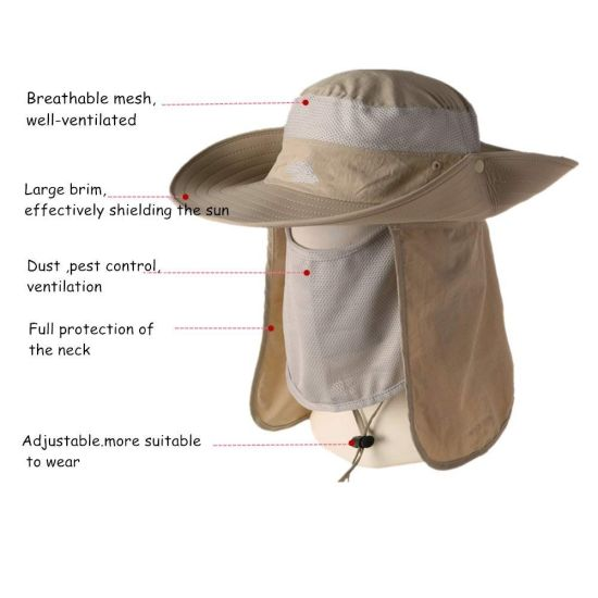 e0d26baf821 China Nylon Sun Protection Summer Outdoor Fishing Hat with Neck Flap ...