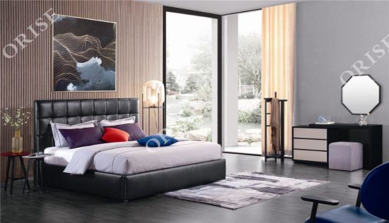 New Orise China Foshan Furniture High Quality Double Solid Wood Frame Storage Bed pictures & photos