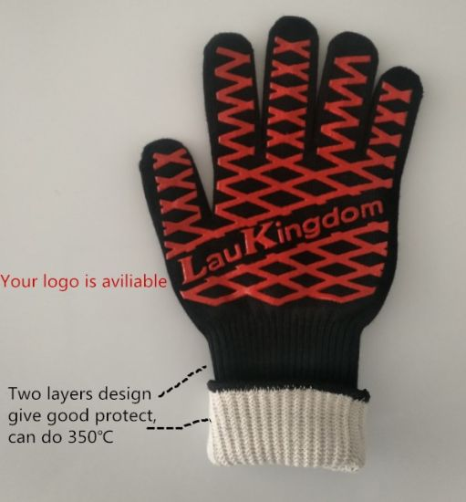 Factory Direct Sale Aramid Fiber Liner Silicone Coated Kitchen Work Safety Glove with Heat and Wear Resistance