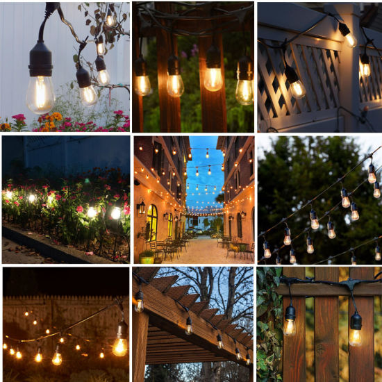 wholesale 48ft 15m commercial christmas decoration e2627 s14 waterproof outdoor led string light for holiday party