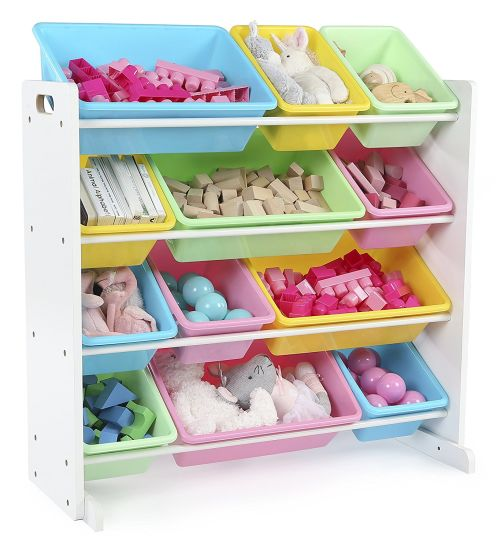 Wooden Cabinet Toy Storage with 12 Plastic Bins Easy Installing