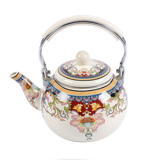 2.5L White Ivory Printing Round Shape Enamel Kettle with Combination Handle