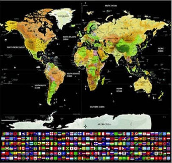 China large scratch off world map poster with country flags 234 x large scratch off world map poster with country flags 234 x 325 includes scratcher push pins exciting conversation piece perfect gift for gumiabroncs Choice Image