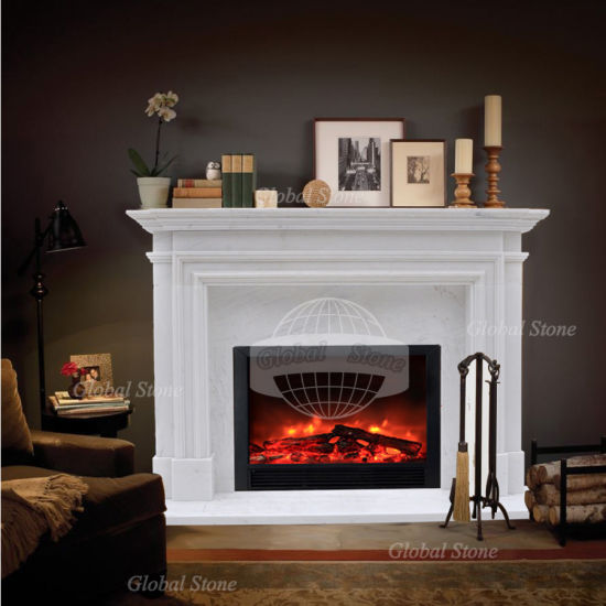 China Customized White Marble Fireplace, Is Marble Good For Fireplace Surround