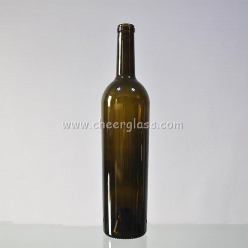 750ml Antique Green Cork Cap Glass Bordeaux Bottle