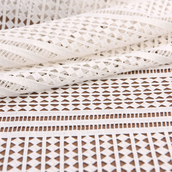 Wholesale Striped Embroidered Chemical Lace Fabric by The Yard