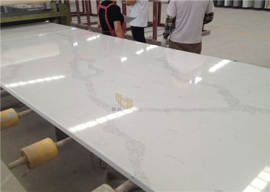 Polish White Calacatta Quartz Slabs for Kitchen/Bathroom Countertop/Benchtop/Worktop