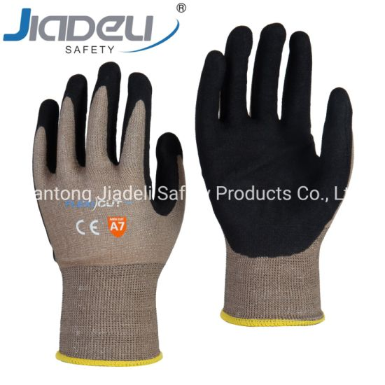 BSCI Certified Manufacturer Custom Logo Personal Hands Safety 15 Gauge Brown A7 Shell, Black Sandy Nitrile on Palm
