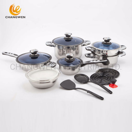 11 Stepped Bottom 16PCS Stainless Steel Wide Edge Cookware with Non Stick