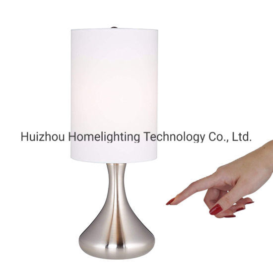 Jlt-T013 Touch Sensor Table Lampwhite Cylinder Shade for Bedroom Bedside pictures & photos